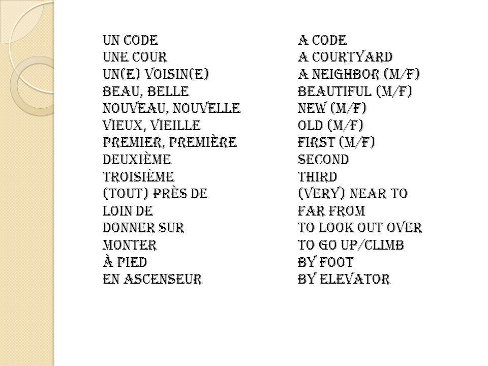 un codeA code une coura courtyard un(e) voisin(e)a neighbor (M/f) beau, bellebeautiful (m/f) nouveau, nouvellenew (m/f) vieux, vieilleold (m/f) premier, premièrefirst (m/f) Deuxièmesecond Troisièmethird (tout) près de(very) near to loin defar from donner surto look out over Monterto go up/climb à piedby foot en ascenseurby elevator