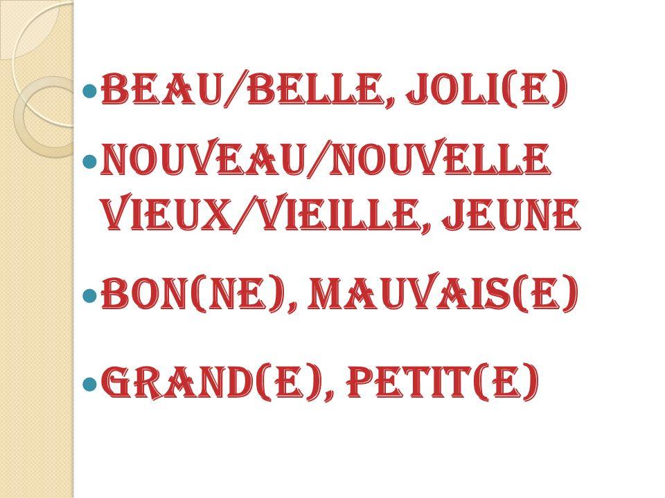 Beau/Belle, Joli(E) Nouveau/Nouvelle Vieux/Vieille, Jeune Bon(NE), Mauvais(E) Grand(e), petit(e)
