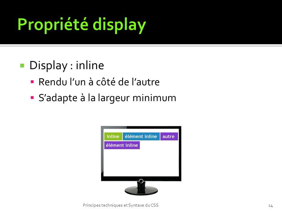 Display : inline Rendu lun à côté de lautre Sadapte à la largeur minimum Principes techniques et Syntaxe du CSS14