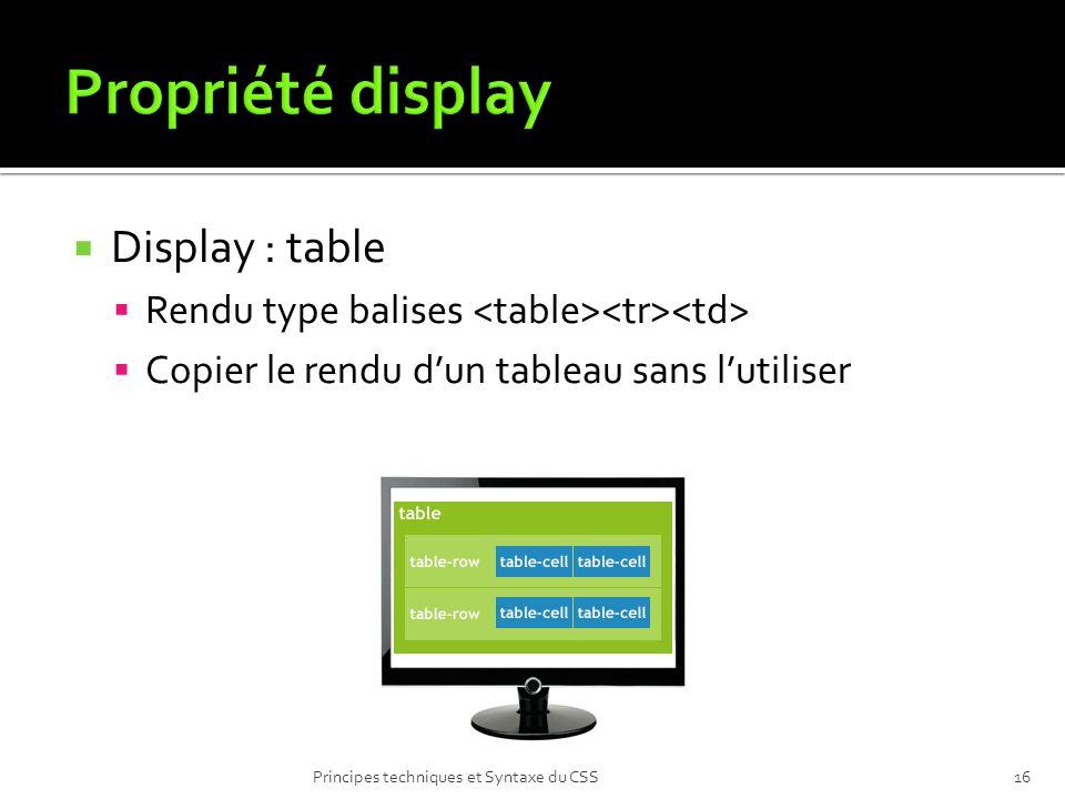 Display : table Rendu type balises Copier le rendu dun tableau sans lutiliser Principes techniques et Syntaxe du CSS16