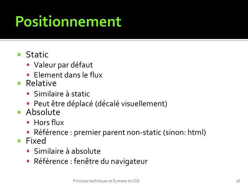 Static Valeur par défaut Element dans le flux Relative Similaire à static Peut être déplacé (décalé visuellement) Absolute Hors flux Référence : premi