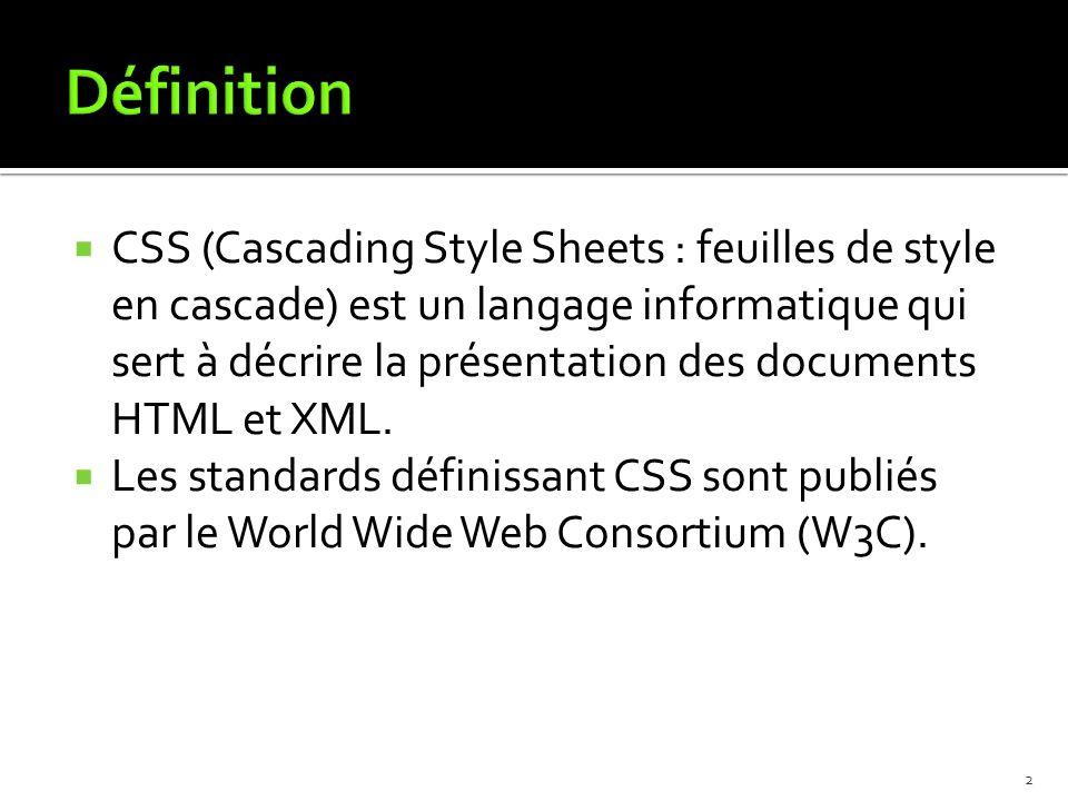 CSS (Cascading Style Sheets : feuilles de style en cascade) est un langage informatique qui sert à décrire la présentation des documents HTML et XML.