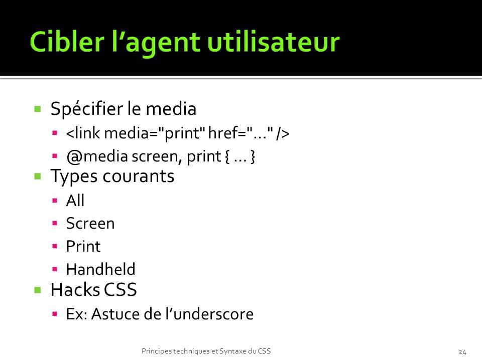 Spécifier le media @media screen, print { … } Types courants All Screen Print Handheld Hacks CSS Ex: Astuce de lunderscore Principes techniques et Syn