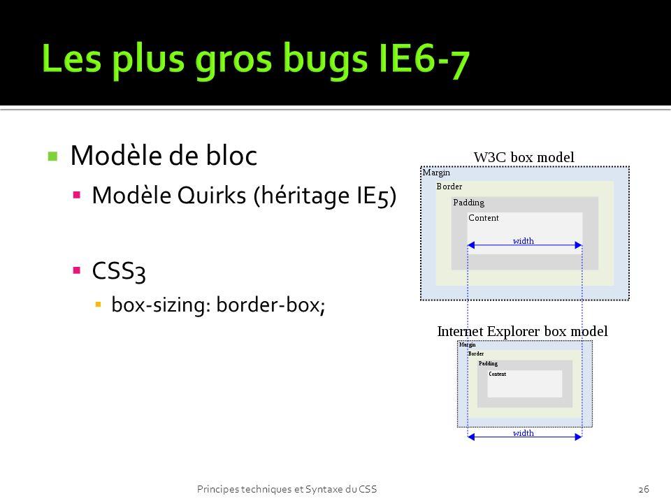 Modèle de bloc Modèle Quirks (héritage IE5) CSS3 box-sizing: border-box; Principes techniques et Syntaxe du CSS26