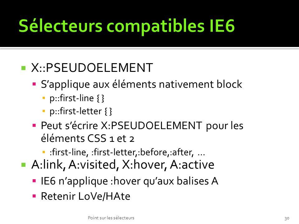 X::PSEUDOELEMENT Sapplique aux éléments nativement block p::first-line { } p::first-letter { } Peut sécrire X:PSEUDOELEMENT pour les éléments CSS 1 et 2 :first-line, :first-letter,:before,:after, … A:link, A:visited, X:hover, A:active IE6 napplique :hover quaux balises A Retenir LoVe/HAte Point sur les sélecteurs30