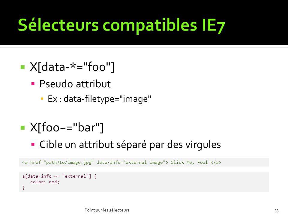X[data-*= foo ] Pseudo attribut Ex : data-filetype= image X[foo~= bar ] Cible un attribut séparé par des virgules Point sur les sélecteurs33 Click Me, Fool a[data-info ~= external ] { color: red; }