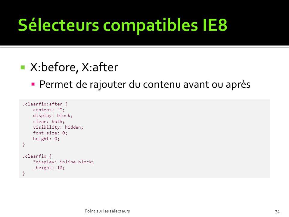 X:before, X:after Permet de rajouter du contenu avant ou après Point sur les sélecteurs34.clearfix:after { content: ; display: block; clear: both; visibility: hidden; font-size: 0; height: 0; }.clearfix { *display: inline-block; _height: 1%; }