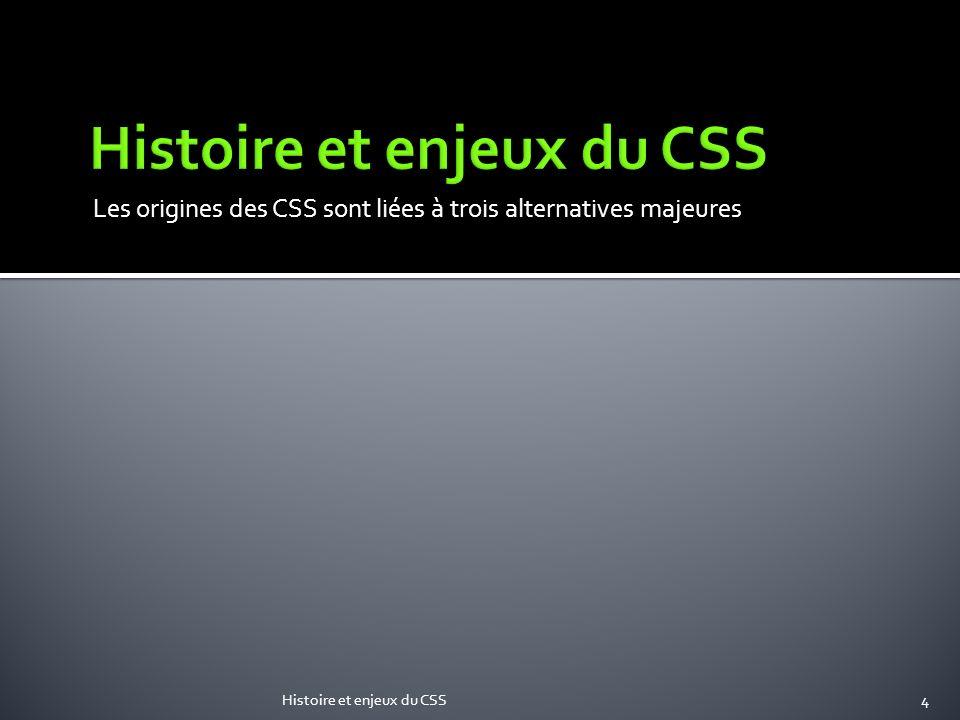 Les origines des CSS sont liées à trois alternatives majeures Histoire et enjeux du CSS4