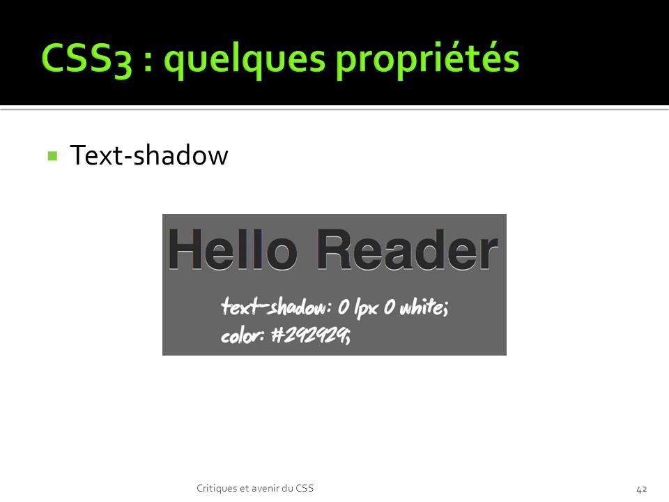 Text-shadow Critiques et avenir du CSS42