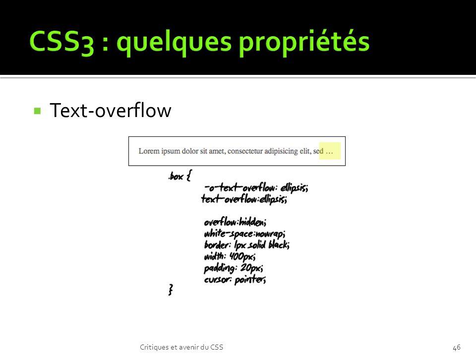 Text-overflow Critiques et avenir du CSS46