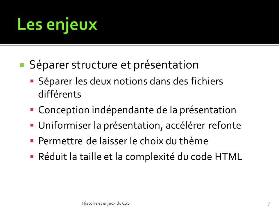 Séparer structure et présentation Séparer les deux notions dans des fichiers différents Conception indépendante de la présentation Uniformiser la présentation, accélérer refonte Permettre de laisser le choix du thème Réduit la taille et la complexité du code HTML Histoire et enjeux du CSS7