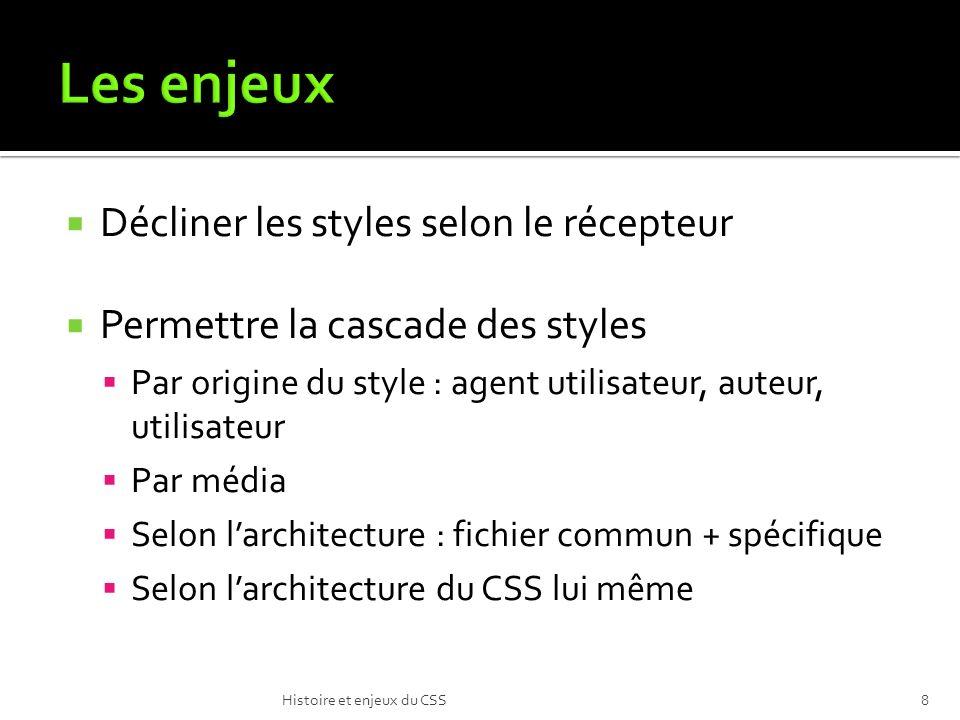 Décliner les styles selon le récepteur Permettre la cascade des styles Par origine du style : agent utilisateur, auteur, utilisateur Par média Selon larchitecture : fichier commun + spécifique Selon larchitecture du CSS lui même Histoire et enjeux du CSS8