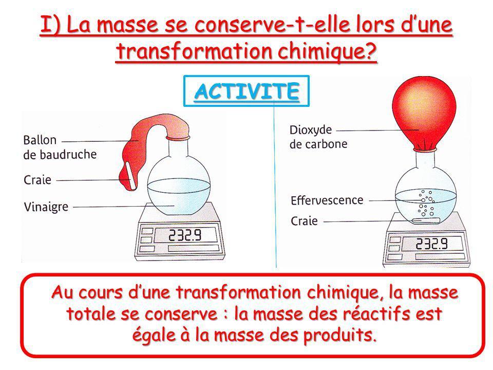 I) La masse se conserve-t-elle lors dune transformation chimique? ACTIVITE Au cours dune transformation chimique, la masse totale se conserve : la mas