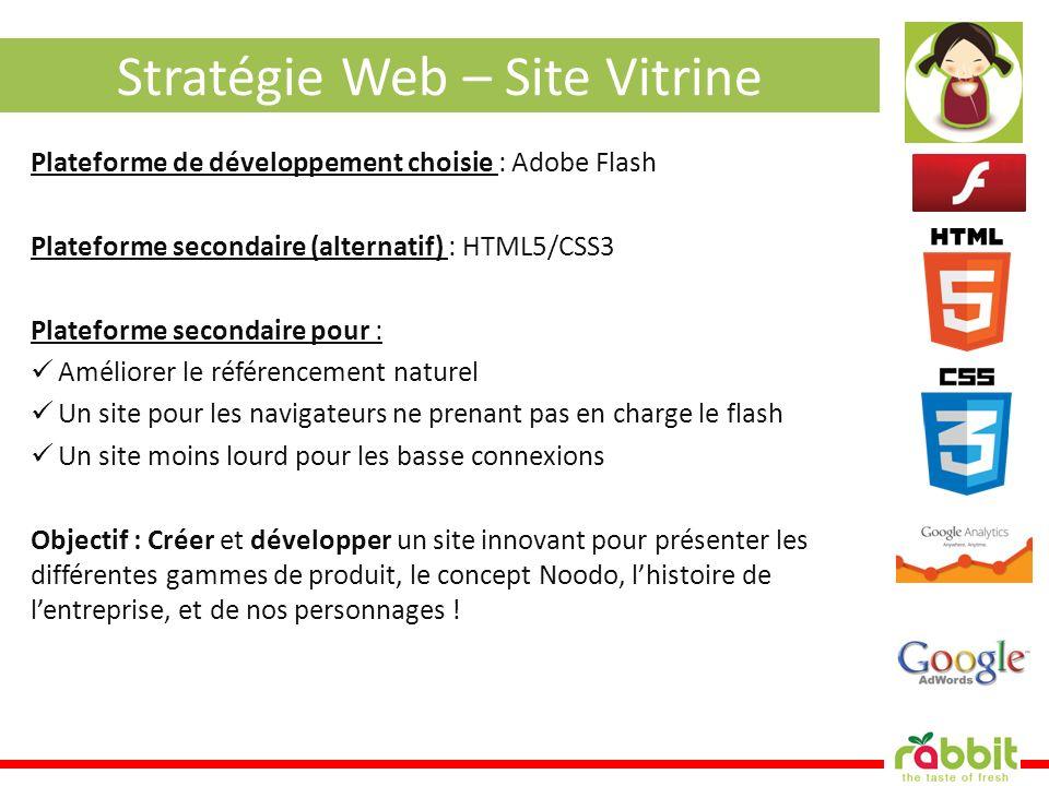 Stratégie Web – Site Vitrine Plateforme de développement choisie : Adobe Flash Plateforme secondaire (alternatif) : HTML5/CSS3 Plateforme secondaire p