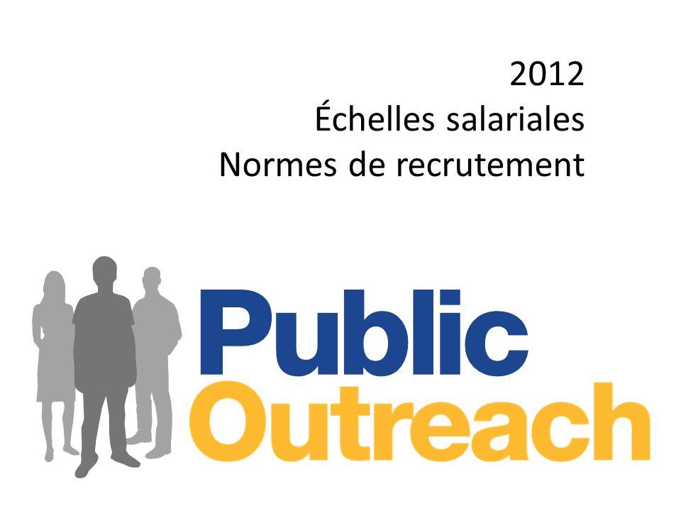 2012 Échelles salariales Normes de recrutement