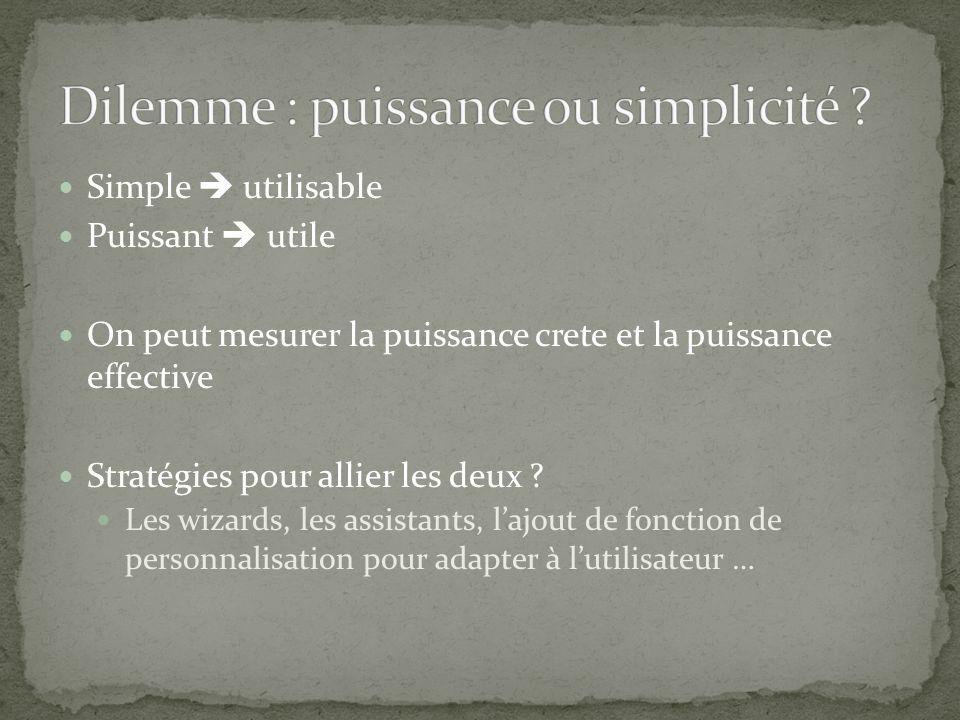 Simple utilisable Puissant utile On peut mesurer la puissance crete et la puissance effective Stratégies pour allier les deux .