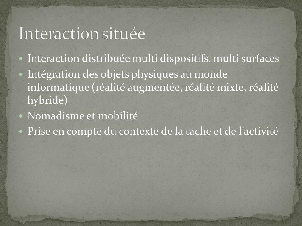 Interaction distribuée multi dispositifs, multi surfaces Intégration des objets physiques au monde informatique (réalité augmentée, réalité mixte, réalité hybride) Nomadisme et mobilité Prise en compte du contexte de la tache et de lactivité
