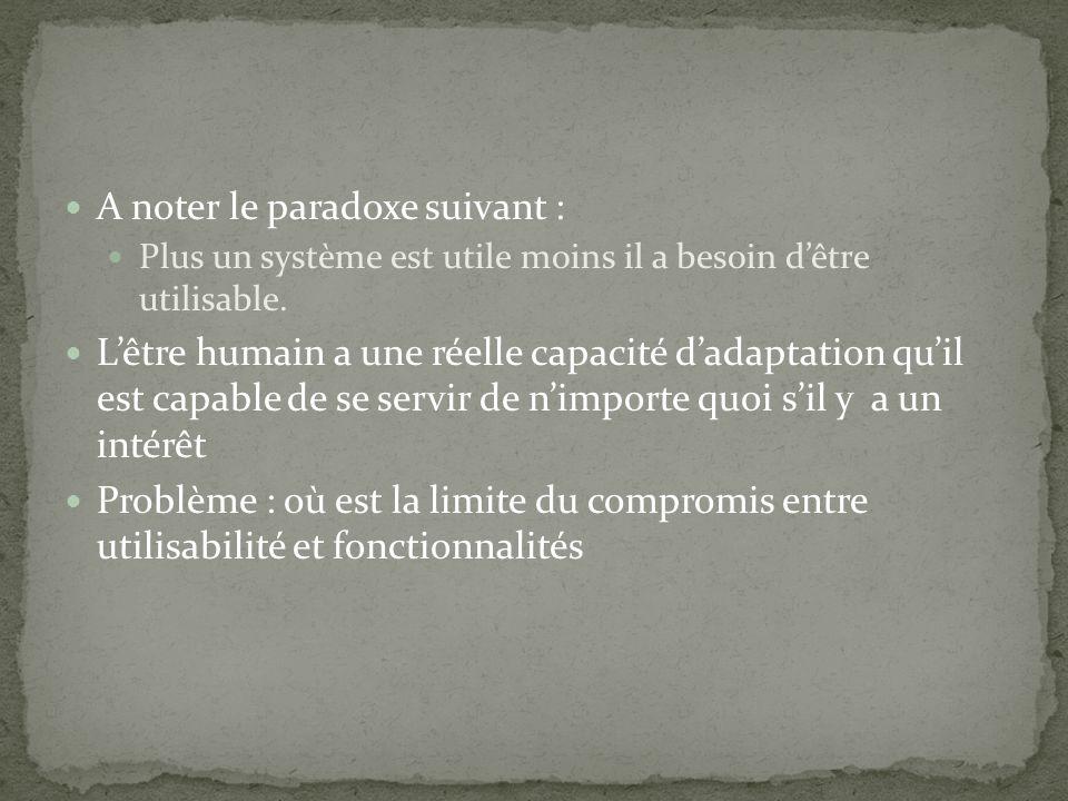 A noter le paradoxe suivant : Plus un système est utile moins il a besoin dêtre utilisable. Lêtre humain a une réelle capacité dadaptation quil est ca