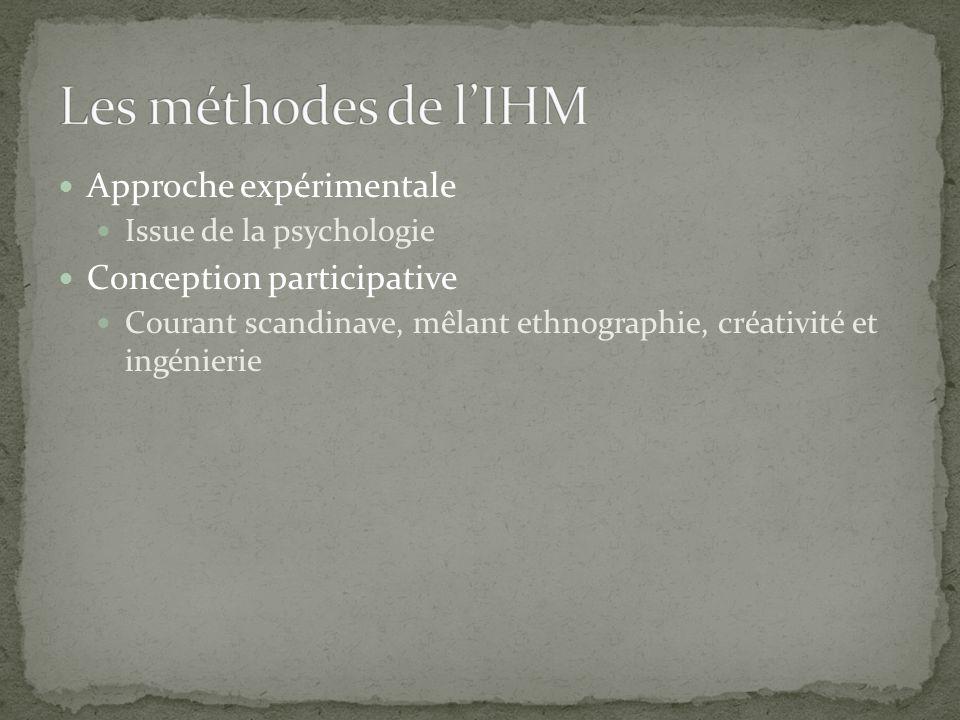 Approche expérimentale Issue de la psychologie Conception participative Courant scandinave, mêlant ethnographie, créativité et ingénierie