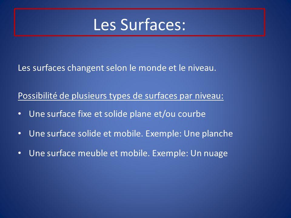 Les Surfaces: Les surfaces changent selon le monde et le niveau.
