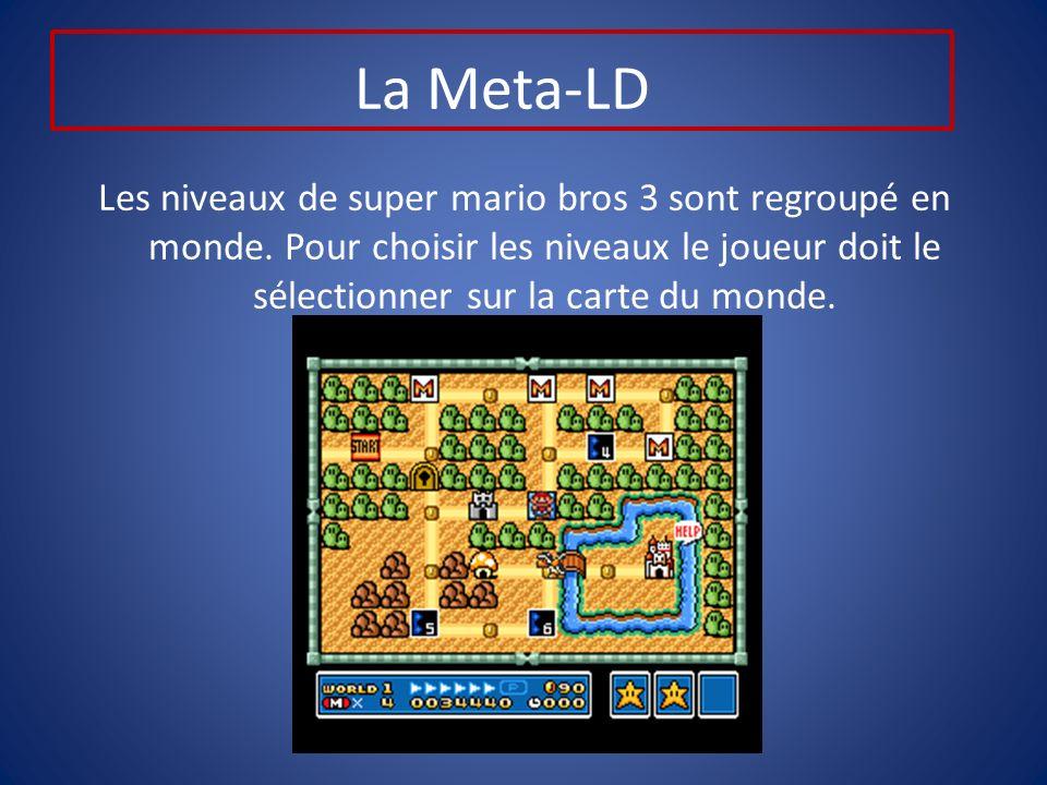 La Meta-LD Les niveaux de super mario bros 3 sont regroupé en monde.