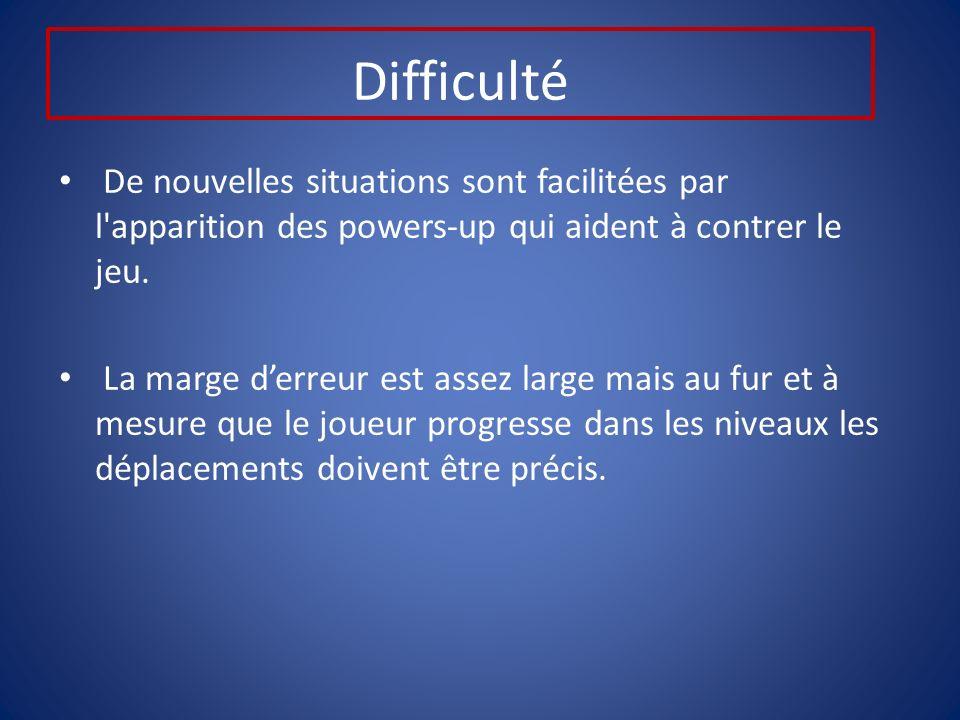 Difficulté De nouvelles situations sont facilitées par l apparition des powers-up qui aident à contrer le jeu.