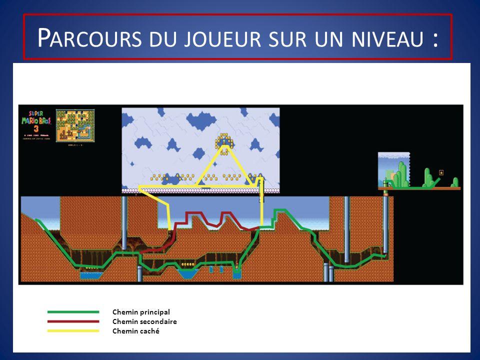 P ARCOURS DU JOUEUR SUR UN NIVEAU : Chemin principal Chemin secondaire Chemin caché