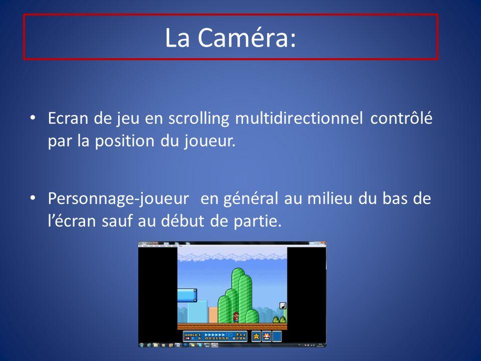 La Caméra: Ecran de jeu en scrolling multidirectionnel contrôlé par la position du joueur.