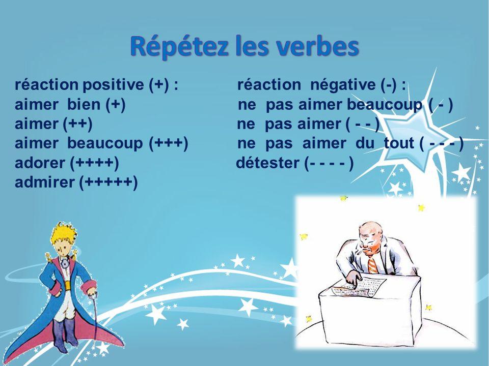 réaction positive (+) : réaction négative (-) : aimer bien (+) ne pas aimer beaucoup ( - ) aimer (++) ne pas aimer ( - - ) aimer beaucoup (+++) ne pas