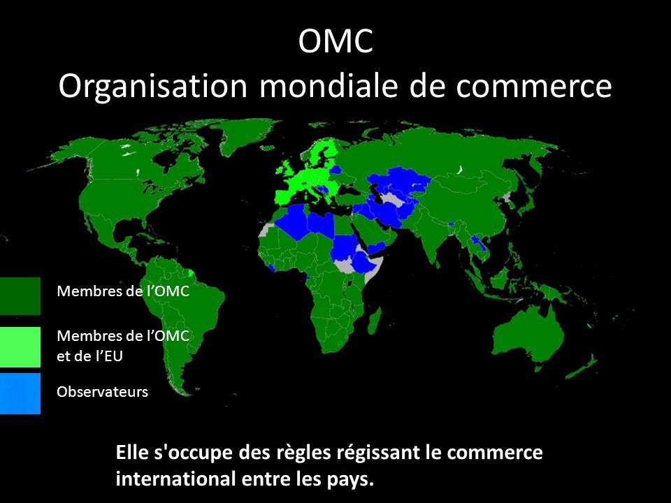 OMC Organisation mondiale de commerce Elle s'occupe des règles régissant le commerce international entre les pays. Membres de lOMC Membres de lOMC et