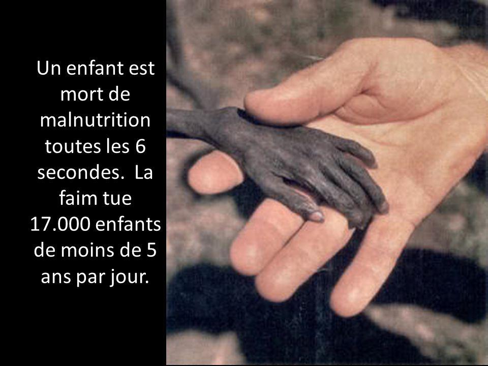 Un enfant est mort de malnutrition toutes les 6 secondes. La faim tue 17.000 enfants de moins de 5 ans par jour.