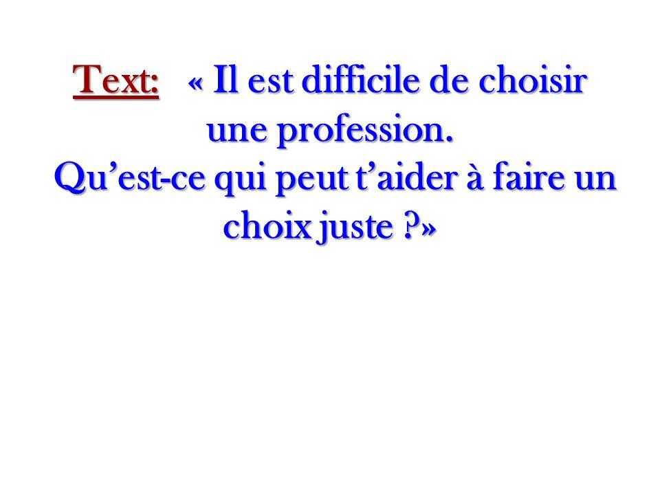 Text: « Il est difficile de choisir une profession. Quest-ce qui peut taider à faire un choix juste ?»