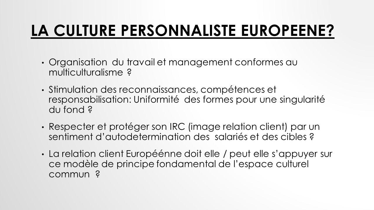 LA CULTURE PERSONNALISTE EUROPEENE? Organisation du travail et management conformes au multiculturalisme ? Stimulation des reconnaissances, compétence