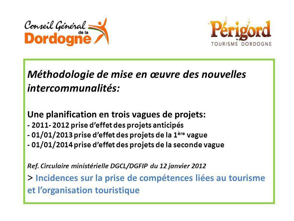Méthodologie de mise en œuvre des nouvelles intercommunalités: Une planification en trois vagues de projets: - 2011- 2012 prise deffet des projets ant
