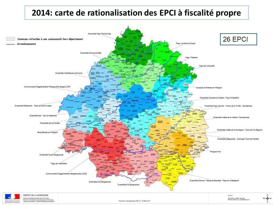 2014: carte de rationalisation des EPCI à fiscalité propre 26 EPCI