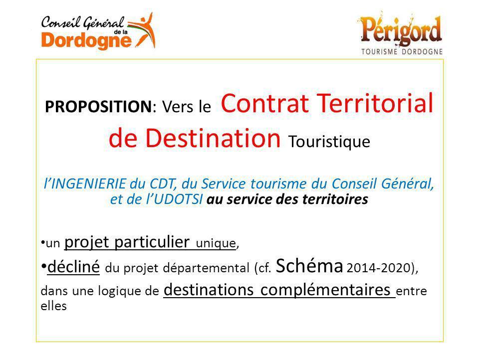 PROPOSITION: Vers le Contrat Territorial de Destination Touristique lINGENIERIE du CDT, du Service tourisme du Conseil Général, et de lUDOTSI au servi