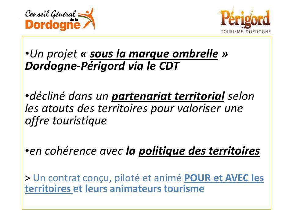Un projet « sous la marque ombrelle » Dordogne-Périgord via le CDT décliné dans un partenariat territorial selon les atouts des territoires pour valor