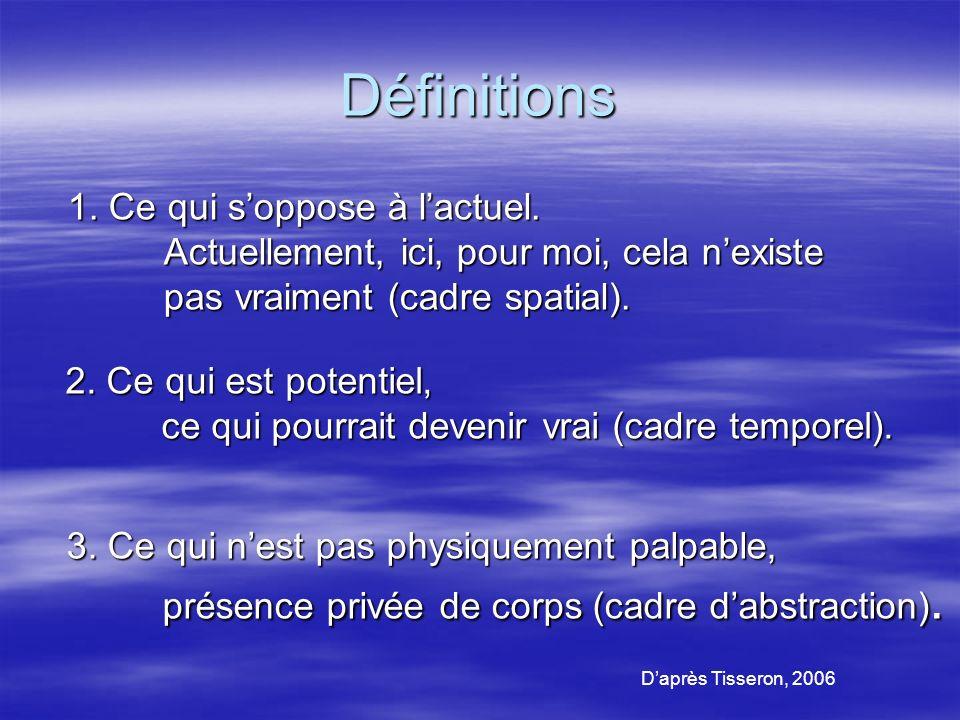 Définitions Daprès Tisseron, 2006 2.