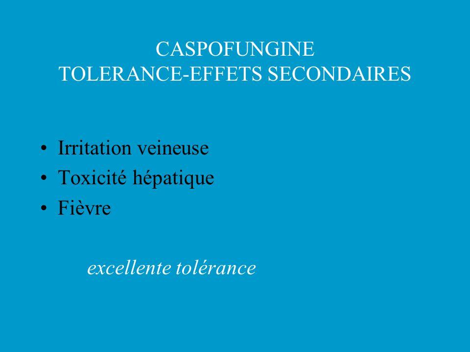 CASPOFUNGINE TOLERANCE-EFFETS SECONDAIRES Irritation veineuse Toxicité hépatique Fièvre excellente tolérance