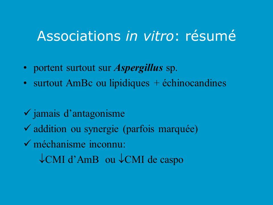 Associations in vitro: résumé portent surtout sur Aspergillus sp. surtout AmBc ou lipidiques + échinocandines jamais dantagonisme addition ou synergie