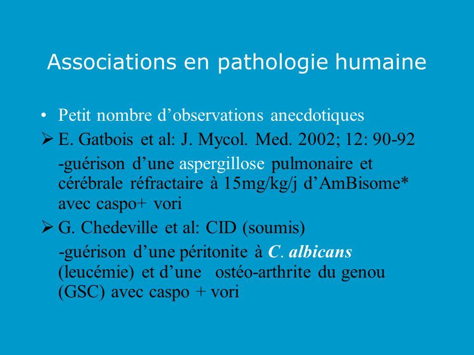 Associations en pathologie humaine Petit nombre dobservations anecdotiques E. Gatbois et al: J. Mycol. Med. 2002; 12: 90-92 -guérison dune aspergillos