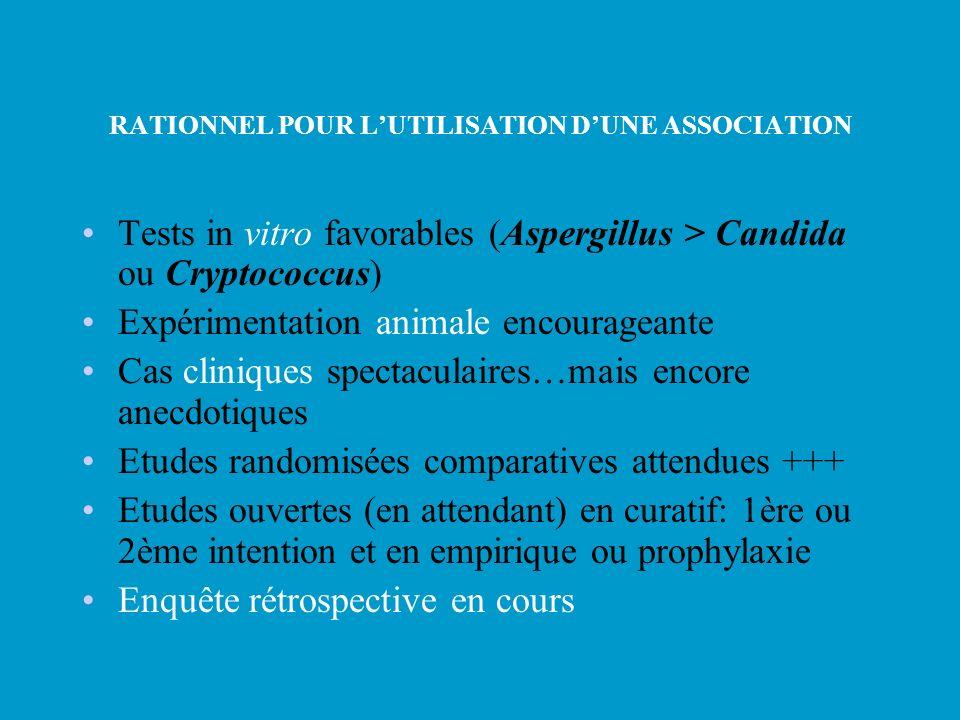 RATIONNEL POUR LUTILISATION DUNE ASSOCIATION Tests in vitro favorables (Aspergillus > Candida ou Cryptococcus) Expérimentation animale encourageante C