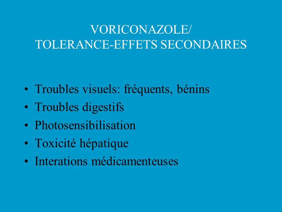 VORICONAZOLE/ TOLERANCE-EFFETS SECONDAIRES Troubles visuels: fréquents, bénins Troubles digestifs Photosensibilisation Toxicité hépatique Interations