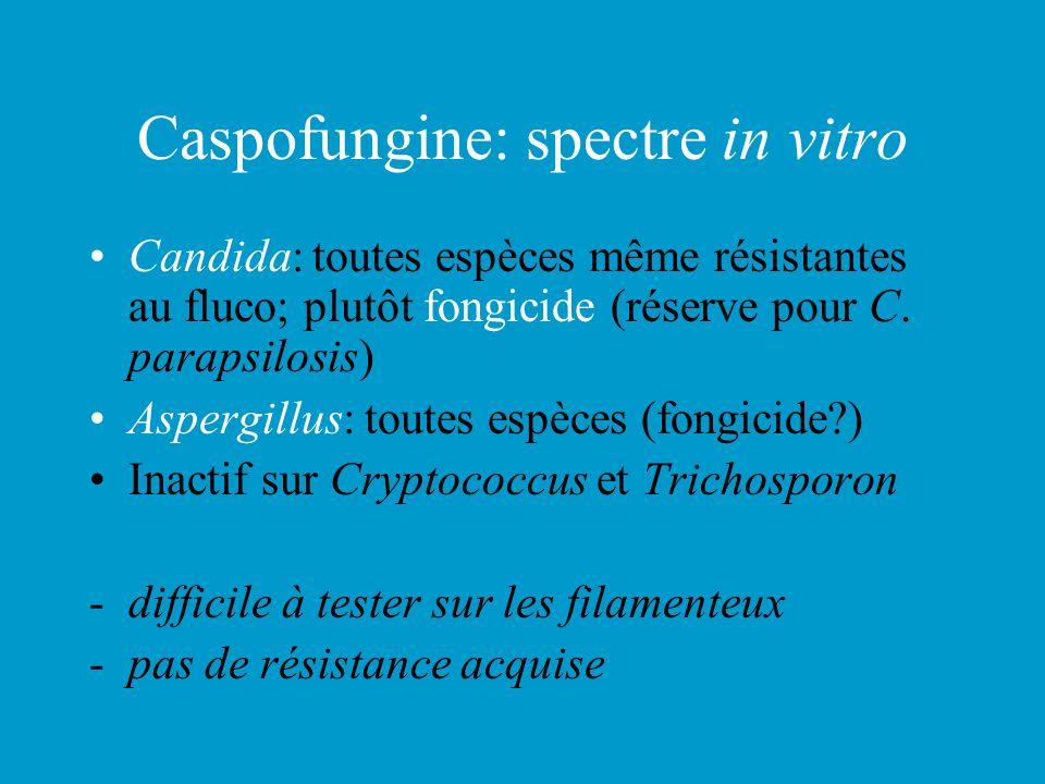 Caspofungine: spectre in vitro Candida: toutes espèces même résistantes au fluco; plutôt fongicide (réserve pour C. parapsilosis) Aspergillus: toutes