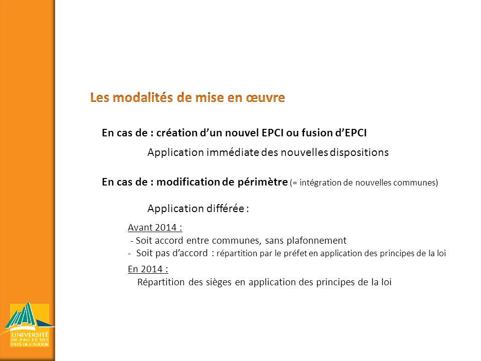 En cas de : création dun nouvel EPCI ou fusion dEPCI En cas de : modification de périmètre (= intégration de nouvelles communes) Application immédiate