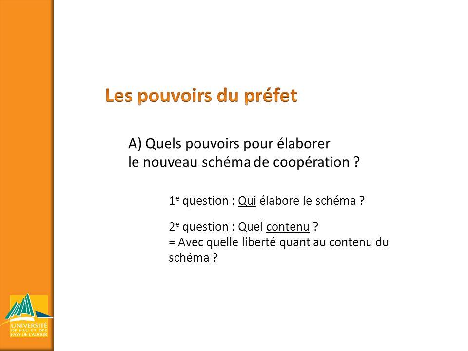 A) Quels pouvoirs pour élaborer le nouveau schéma de coopération ? 1 e question : Qui élabore le schéma ? 2 e question : Quel contenu ? = Avec quelle