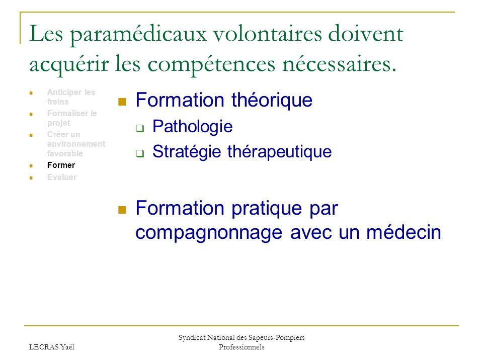 LECRAS Yaël Syndicat National des Sapeurs-Pompiers Professionnels Les paramédicaux volontaires doivent acquérir les compétences nécessaires.