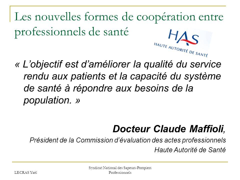 LECRAS Yaël Syndicat National des Sapeurs-Pompiers Professionnels Les nouvelles formes de coopération entre professionnels de santé « Lobjectif est da