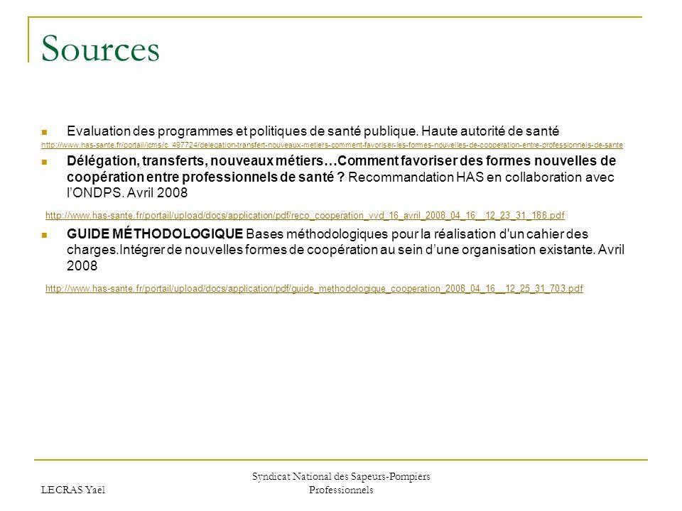LECRAS Yaël Syndicat National des Sapeurs-Pompiers Professionnels Sources Evaluation des programmes et politiques de santé publique.