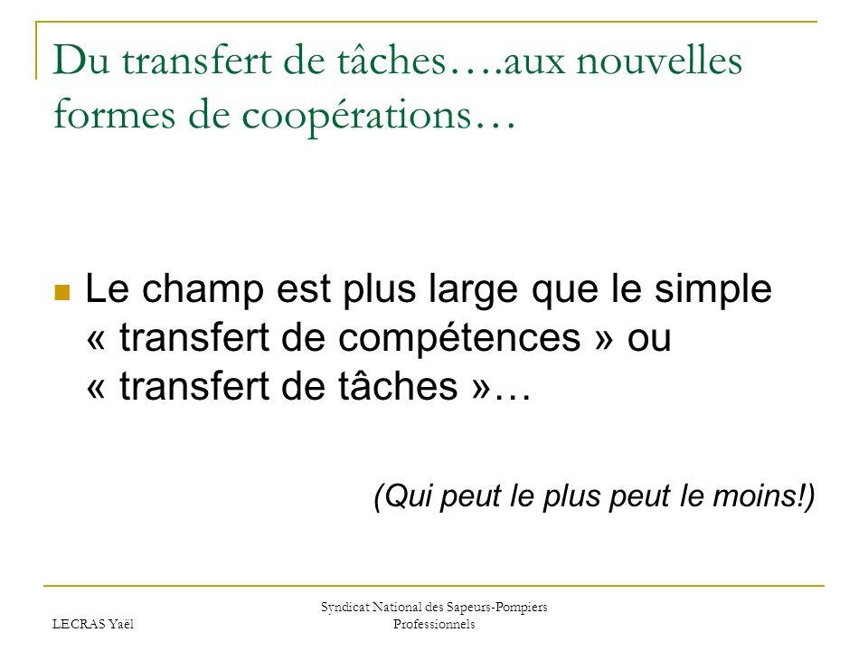 LECRAS Yaël Syndicat National des Sapeurs-Pompiers Professionnels Du transfert de tâches….aux nouvelles formes de coopérations… Le champ est plus large que le simple « transfert de compétences » ou « transfert de tâches »… (Qui peut le plus peut le moins!)